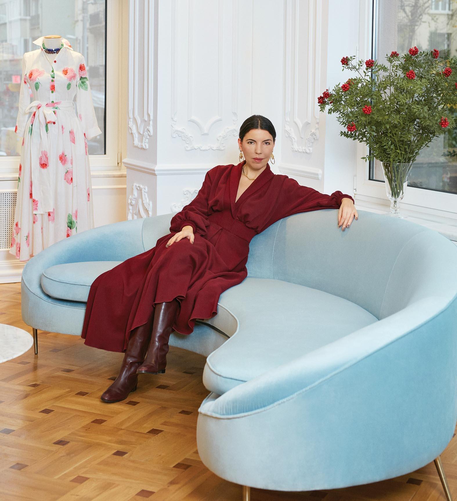 Guel Huergel on blue sofa