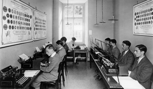 students typewriting